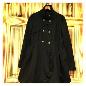 Steam punk/feminine style wool blend dress coat